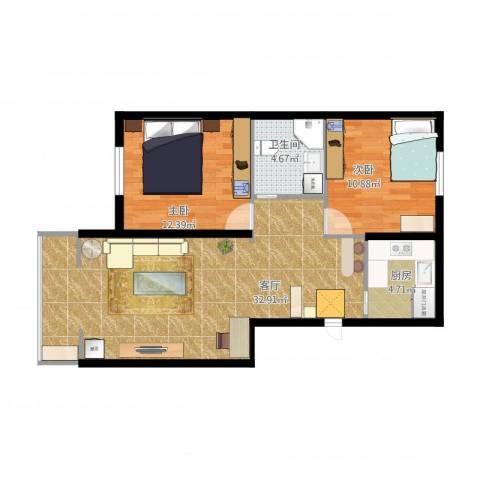德顺园2室1厅1卫1厨91.00㎡户型图