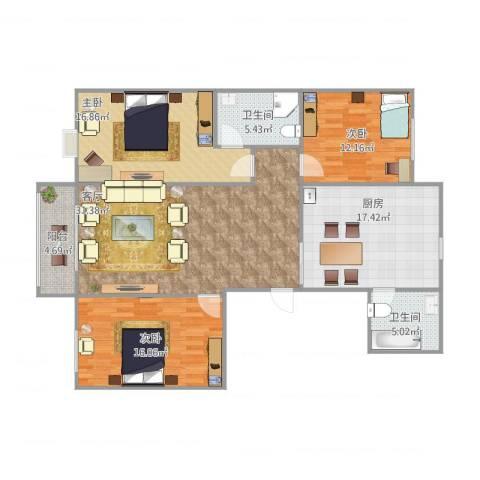 元氏天山水榭花都3室1厅2卫1厨145.00㎡户型图