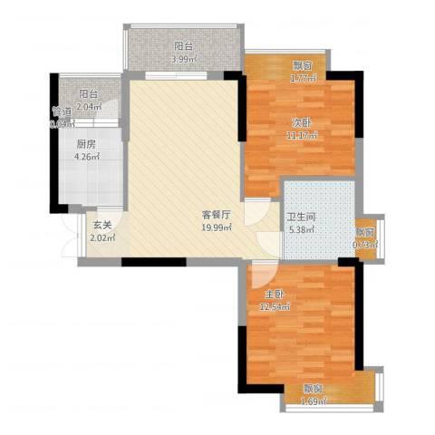 翠堤湾2室1厅1卫1厨84.00㎡户型图