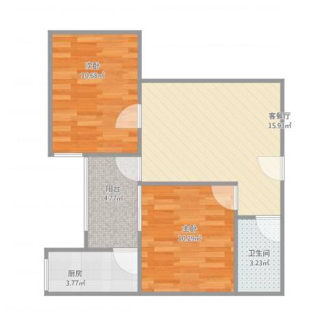东方绿洲2室1厅1卫1厨66.00㎡户型图