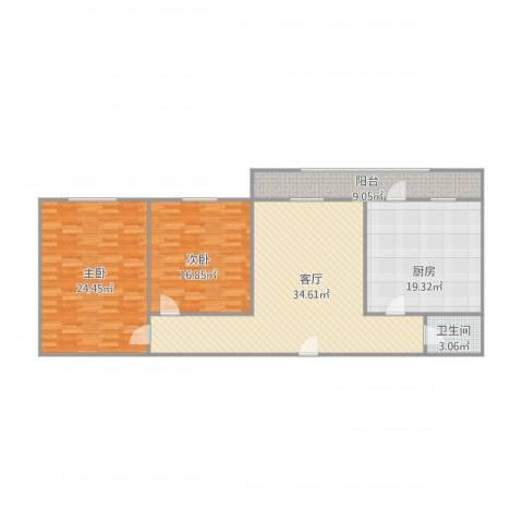 青吉里2室1厅1卫1厨143.00㎡户型图