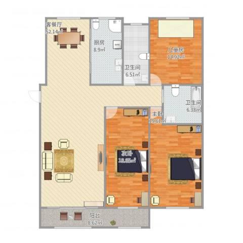 大地都市美郡3室1厅2卫1厨181.00㎡户型图
