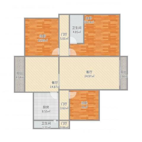 长信花园嘉华楼06023室2厅2卫1厨161.00㎡户型图
