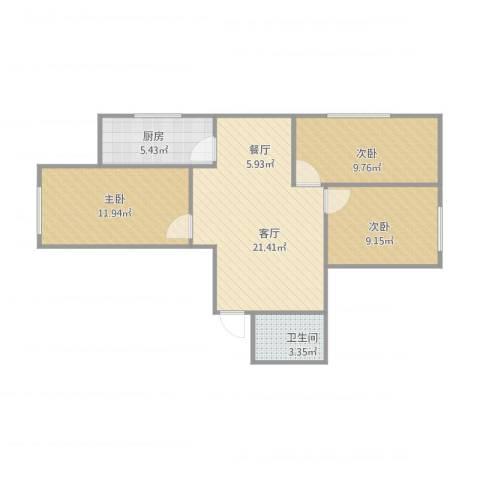 亿隆富贵名苑3室1厅1卫1厨65.85㎡户型图