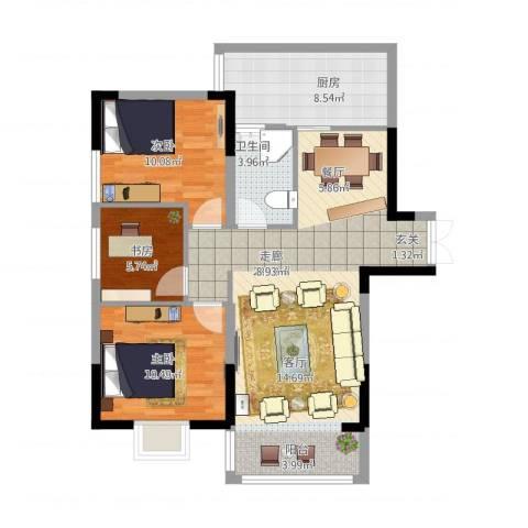 怡景国际3室1厅1卫1厨102.00㎡户型图