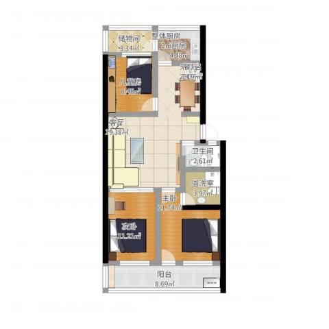花园小区3室1厅2卫1厨124.00㎡户型图