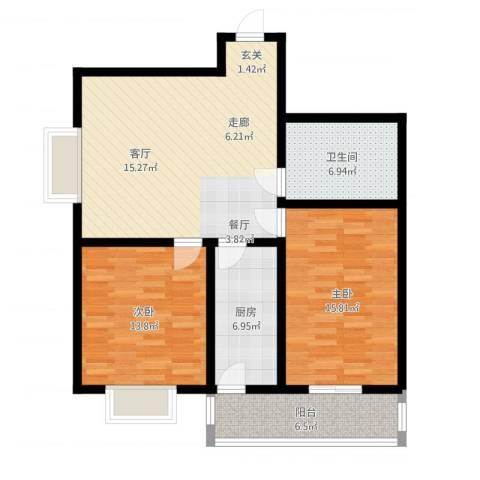 中铁绿洲2室1厅1卫1厨110.00㎡户型图