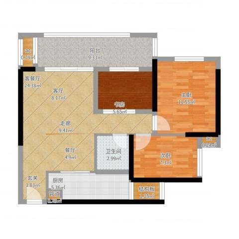 珑湖湾东岸3室1厅1卫1厨101.00㎡户型图