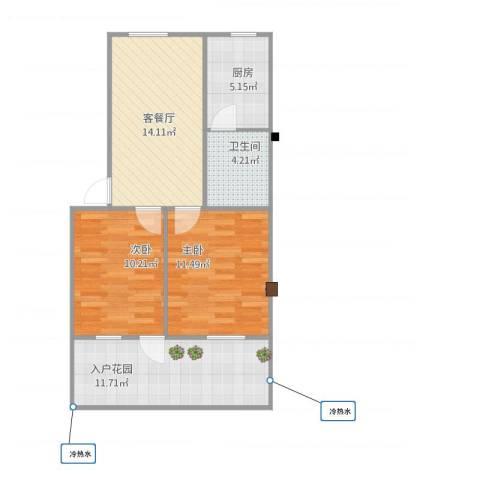 包衙前2室1厅1卫1厨77.00㎡户型图