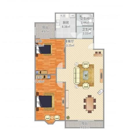 培育苑2室1厅2卫1厨124.00㎡户型图
