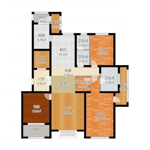新源燕府3室1厅3卫1厨214.00㎡户型图