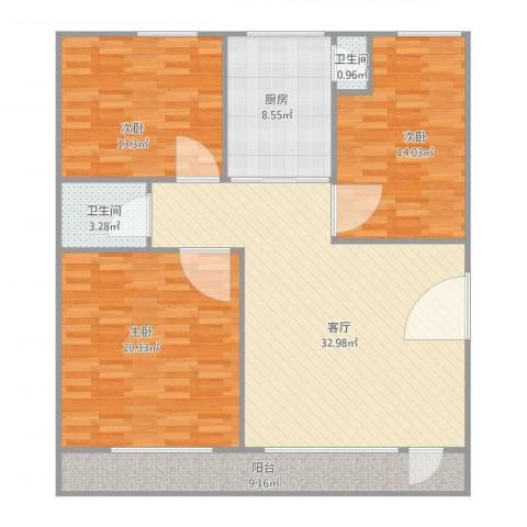 红棉苑3楼3室1厅2卫1厨138.00㎡户型图