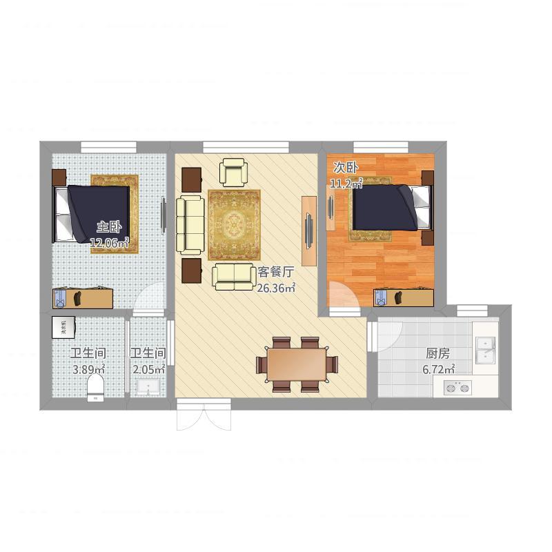 两室两厅90
