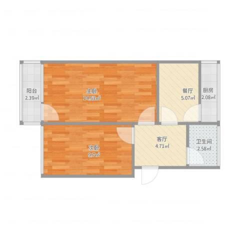 化纤小区2室2厅1卫1厨57.00㎡户型图
