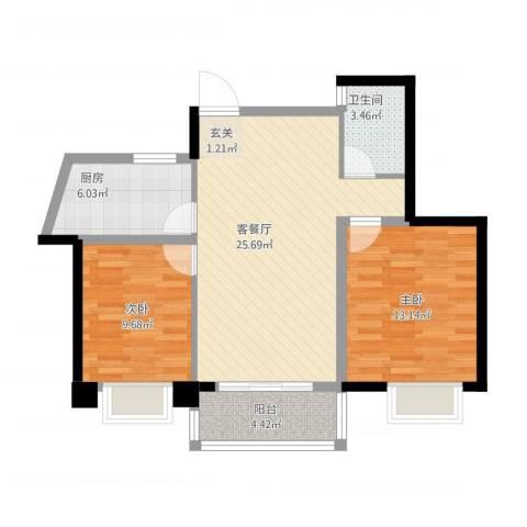 山水湖滨花园二期2室1厅1卫1厨89.00㎡户型图