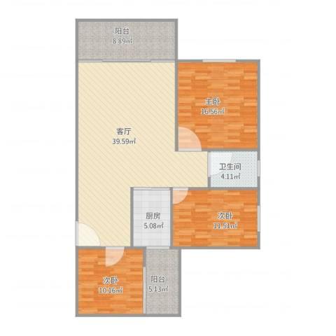 东方广场3室1厅1卫1厨135.00㎡户型图