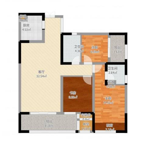 泰悦湾3室1厅2卫1厨130.00㎡户型图