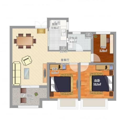 如皋中南世纪城3室1厅1卫1厨88.00㎡户型图