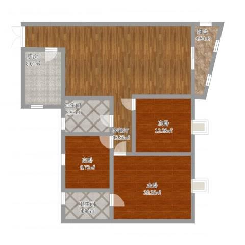 星河传说聚星岛A区3室1厅2卫1厨156.00㎡户型图