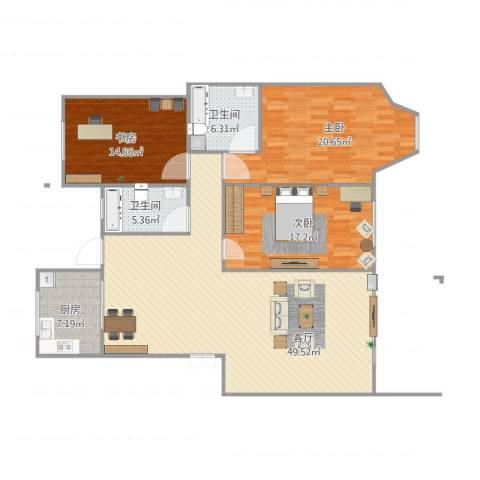 高恒・东方明珠花园3室1厅2卫1厨161.00㎡户型图