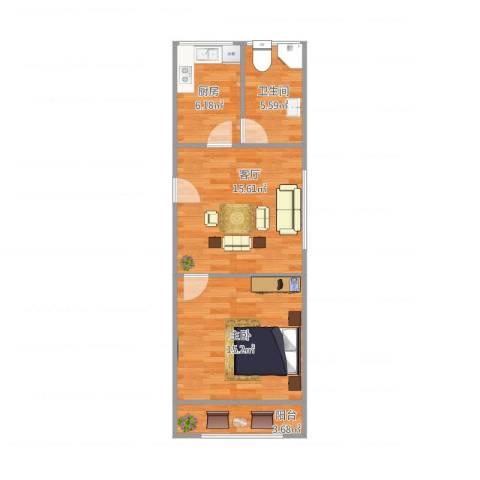 东波苑1室1厅1卫1厨62.00㎡户型图