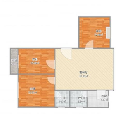 怡乐居3室1厅2卫1厨91.72㎡户型图