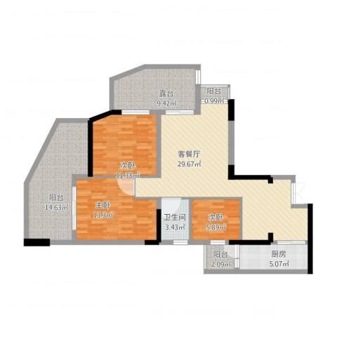 宗申动力城3室1厅1卫1厨138.00㎡户型图