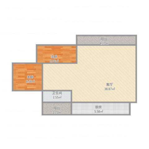 摩登荟2室1厅1卫1厨88.00㎡户型图