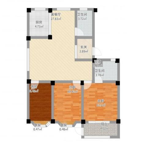 西涝台御鑫园3室1厅2卫1厨115.00㎡户型图
