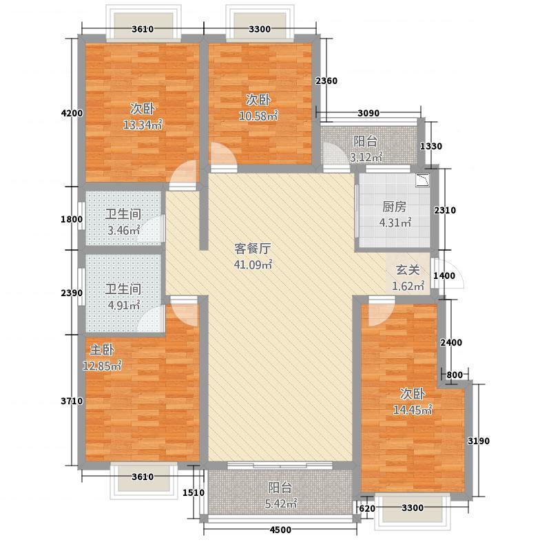 嘉逸岭湾・洱谷12.52㎡二期G户型4室2厅2卫1厨