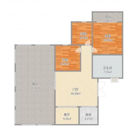 软件园公寓3室1厅1卫1厨98.00㎡户型图