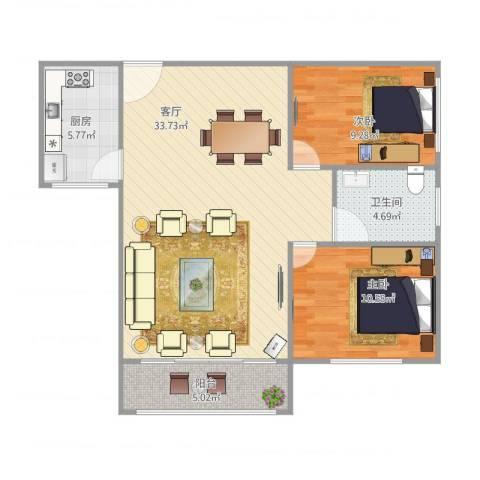 浦发绿城2079弄小区2室1厅1卫1厨92.00㎡户型图
