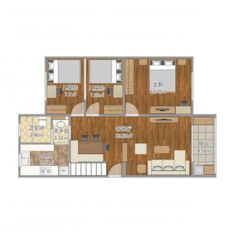 浦东鸿基公寓3室1厅1卫1厨95.00㎡户型图