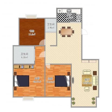 吴越祥庭3室1厅2卫1厨135.00㎡户型图