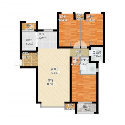 天成佳境3室1厅2卫1厨136.00㎡户型图