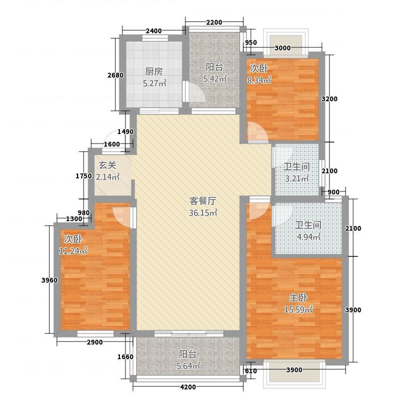 嘉逸岭湾・洱谷123.72㎡二期E户型3室2厅2卫1厨