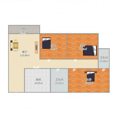 万科兰乔圣菲3室1厅2卫1厨371.78㎡户型图
