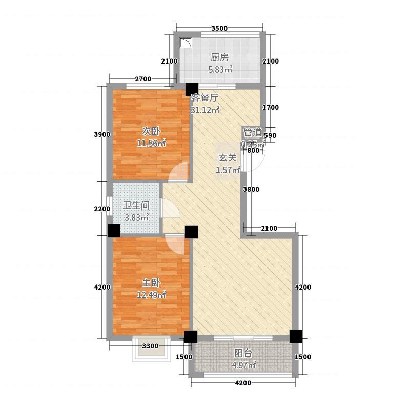 星光家园26717.25㎡A2、A6、A7号楼户型2室2厅1卫1厨