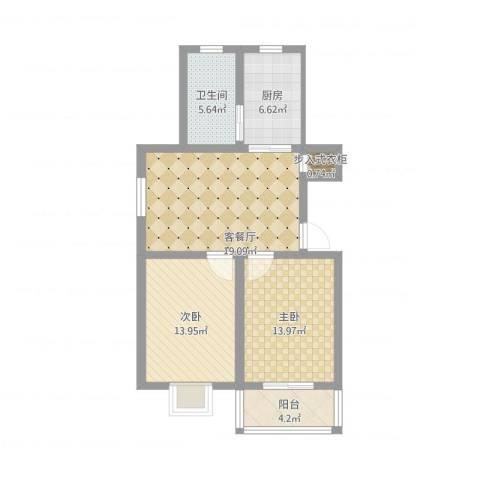 五星家园2室1厅1卫1厨75.73㎡户型图