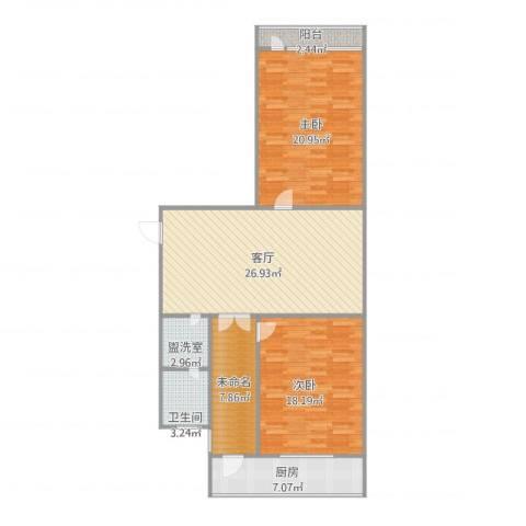 义堂小区2室2厅1卫1厨120.00㎡户型图