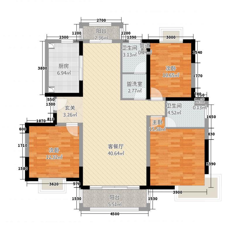 洱海庄园32.20㎡D户型3室2厅2卫1厨
