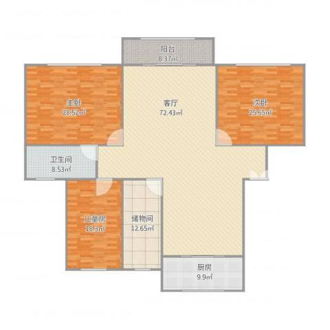华高庭园3室1厅1卫1厨243.00㎡户型图