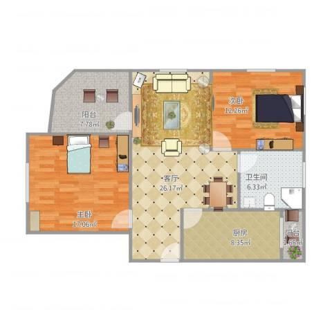 浦江东旭公寓2室1厅1卫1厨107.00㎡户型图