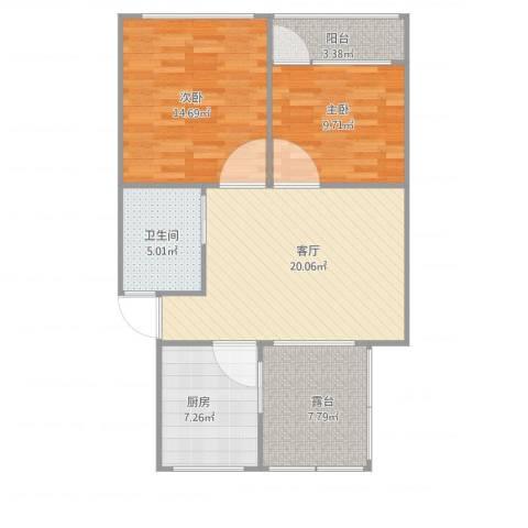 周东二村66#60173平2室1厅1卫1厨92.00㎡户型图