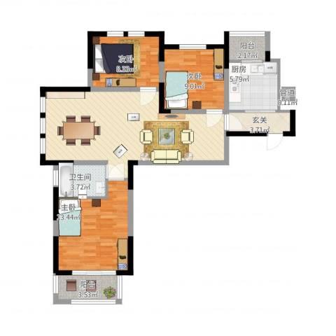 华源上海城三期3室1厅1卫1厨112.00㎡户型图