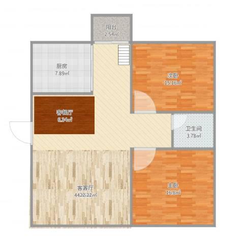 汇银奥林匹克花园2室1厅1卫1厨120.00㎡户型图