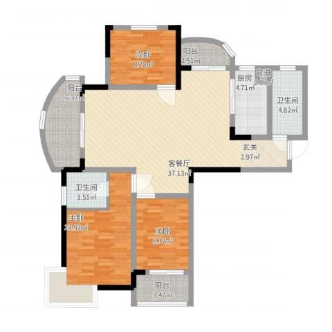 名桂坊3室1厅3卫1厨138.00㎡户型图