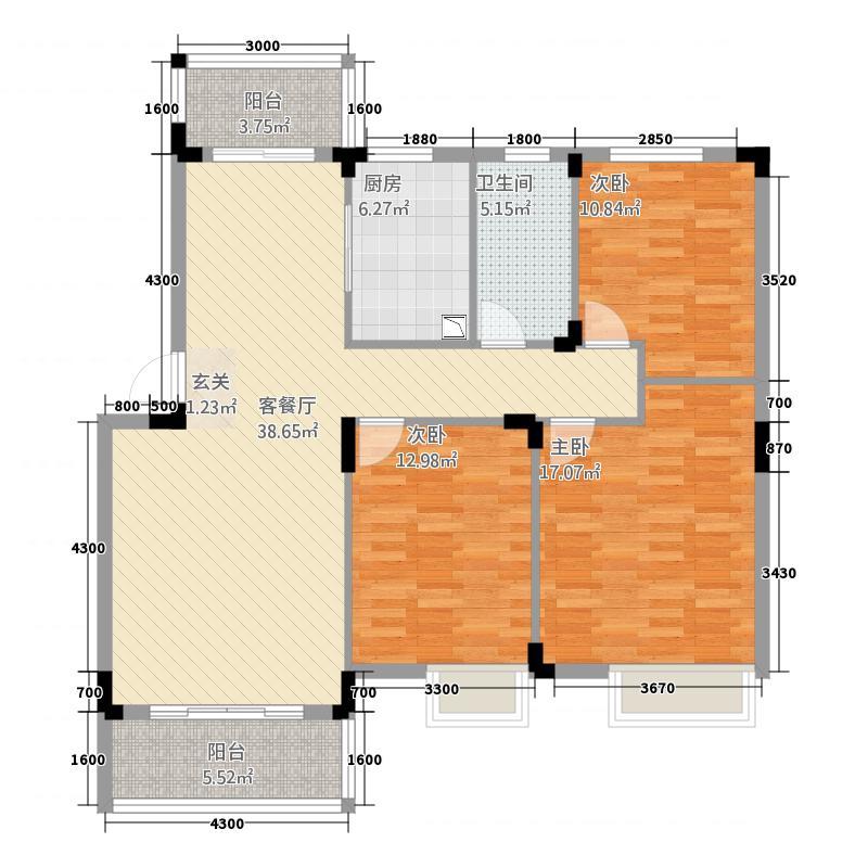 东方丽景・禧园116.00㎡东方丽景四期禧园C户型3室2厅1卫1厨
