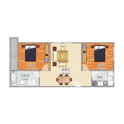 豆仔尾路295号民房2室1厅1卫1厨78.80㎡户型图