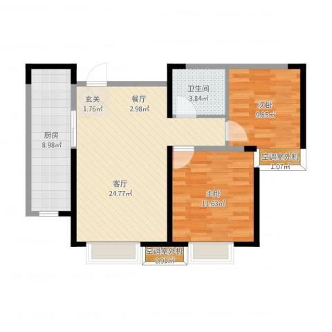 融创中央学府2室1厅1卫1厨84.00㎡户型图